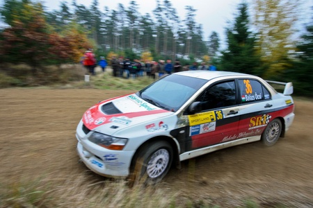HORN, AUSTRIA - OCTOBER 31: Raimund Baumschlager wins the 28th Waldviertel Rallye on October 31, 2009 in Horn, Austria. Shown is hungarian driver Oecsi Balazs who finished eighth.