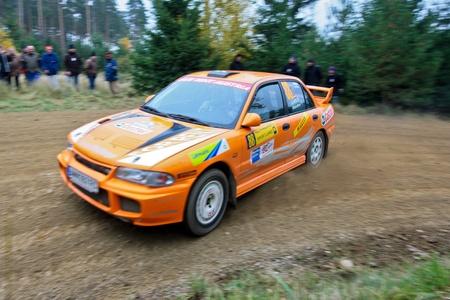 mud slide: HORN, AUSTRIA - OCTOBER 31: Raimund Baumschlager wins the 28th Waldviertel Rallye on October 31, 2009 in Horn, Austria. Shown is austrian driver Philipp Lietz. Editorial