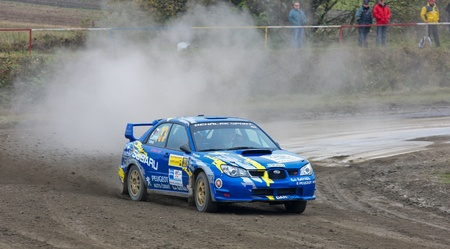 HORN, AUSTRIA - OCTOBER 31: Raimund Baumschlager wins the 28th Waldviertel Rallye on October 31, 2009 in Horn, Austria. Shown is czech driver Jan Cerny who finished fifth.