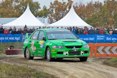 mud slide: HORN, AUSTRIA - OCTOBER 31: Raimund Baumschlager wins the 28th Waldviertel Rallye on October 31, 2009 in Horn, Austria. Shown is austrian driver Alexander Tazreiter who finished tenth. Editorial
