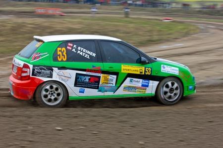 mud slide: HORN, AUSTRIA - OCTOBER 31: Raimund Baumschlager wins the 28th Waldviertel Rallye on October 31, 2009 in Horn, Austria. Shown is austrian driver Andi Patzl.