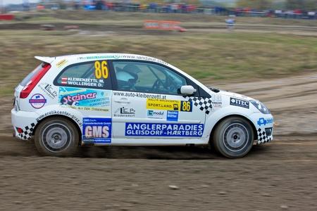 mud slide: HORN, AUSTRIA - OCTOBER 31: Raimund Baumschlager wins the 28th Waldviertel Rallye on October 31, 2009 in Horn, Austria. Shown is austrian driver Daniel Wollinger.