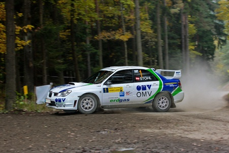 mud slide: HORN, AUSTRIA - OCTOBER 31: Raimund Baumschlager wins the 28th Waldviertel Rallye on October 31, 2009 in Horn, Austria. Shown is austrian driver Manfred Stohl who finished fourth. Editorial