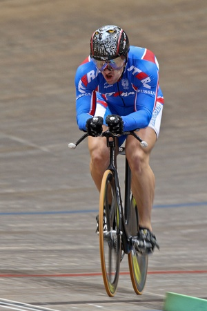 keirin: VIENNA,  AUSTRIA - JANUARY 11 Indoor track cycling meeting - Sergey Polynskiy (Russia) places sixth in the mens 1000m time trial on January 11, 2010 in Vienna, Austria. Editorial