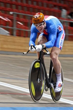 keirin: VIENNA,  AUSTRIA - JANUARY 11 Indoor track cycling meeting - Tomas Babek (Czech Republic) places third in the mens 1000m time trial on January 11, 2010 in Vienna, Austria.