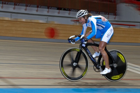 VIENNA,  AUSTRIA - JANUARY 12 Indoor track cycling meeting - Elissavet Chantzi (Greece) places fourth in the women's scratch race on January 12, 2010 in Vienna, Austria. Stock Photo - 8465319