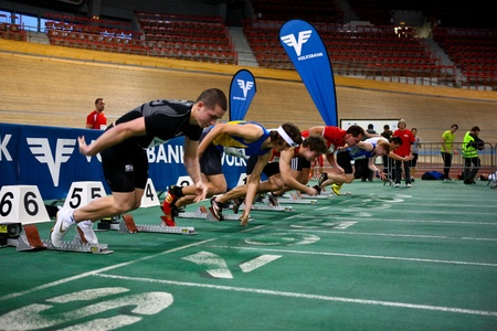 VIENNA,  AUSTRIA - FEBRUARY 2 Indoor track and field meeting. Roy Krawcewicz (Austria, front) places 6th in the mens 60m sprint qualifying run on February 2, 2010 in Vienna, Austria.