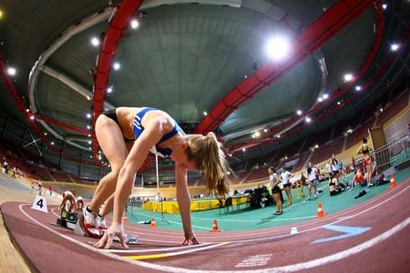 sports venue: Viena, AUSTRIA - 2 de febrero reuni�n de atletismo bajo techo. Viola Kleiser (Austria) coloca segundo en sprint de 200 m de la mujer, 2 de febrero de 2010 en Viena, Austria.