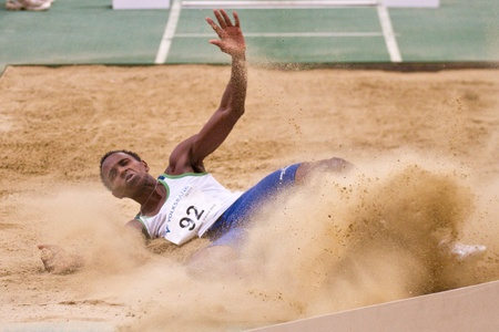 silva: VIENNA,  AUSTRIA - FEBRUARY 2 Indoor track and field meeting. Mauro Vinicius da Silva (Brasil) wins the mens long jump event on February 2, 2010 in Vienna, Austria. Editorial