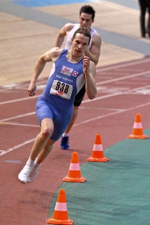VIENNA,  AUSTRIA - FEBRUARY 16  Vienna indoor  track and field meeting. Clemens Zeller (Austria) wins the men's 400m sprint event on February 16, 2010 in Vienna, Austria. Stock Photo - 8465335