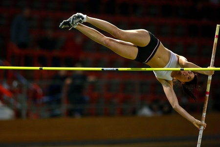 VIENNA,  AUSTRIA - FEBRUARY 16  Vienna indoor  track and field meeting.  Eros Eniko (Hungary) places 3rd in the womens pole vault  event on February 16, 2010 in Vienna, Austria. Editorial