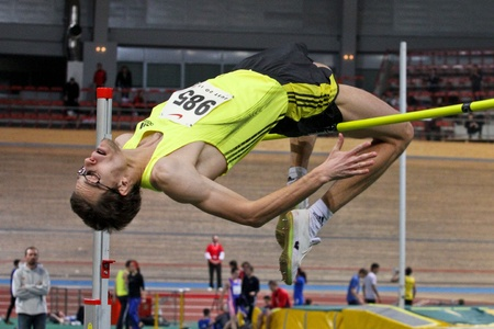 VIENNA,  AUSTRIA - FEBRUARY 16  Vienna indoor  track and field meeting.  Rozle Prezelj wins the men's high jump event on February 16, 2010 in Vienna, Austria. Stock Photo - 8465367