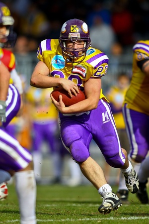 VIENNA, AUSTRIA - MARCH 28 Vienna Vikings beat St. Poelten Invaders in an AFL-season game 56-16 on March 28, 2010. Shown is RB Florian Hiess (Vikings #23).
