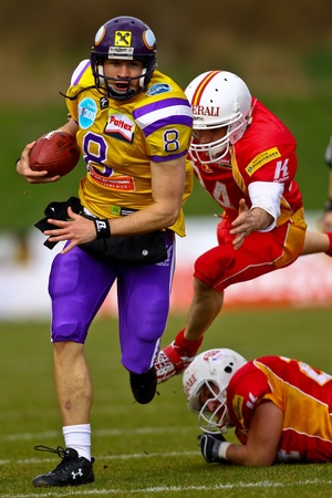 afl: VIENNA, AUSTRIA - MARCH 28 Vienna Vikings beat St. Poelten Invaders in an AFL-season game 56-16 on March 28, 2010. Shown is QB Christoph Gross (Vikings #8).