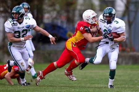 KORNEUBURG, AUSTRIA - APRIL 10 Danube Dragons beat St. Poelten Invaders in an AFL-season game 63-55 on April 10, 2010. Shown is RB Andrej Kliman (Dragons #3).