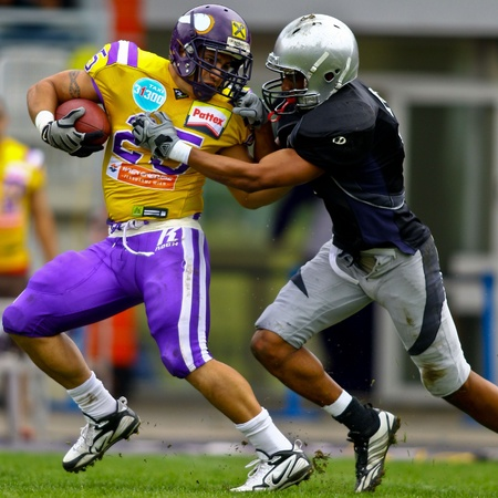 VIENNA, AUSTRIA - MAY 2 Vienna Vikings beat  Badalona Dracs in an EFL-season game 24-0 on May 2, 2010. Shown is RB Josiah Cravalho (Vikings #25). Editorial