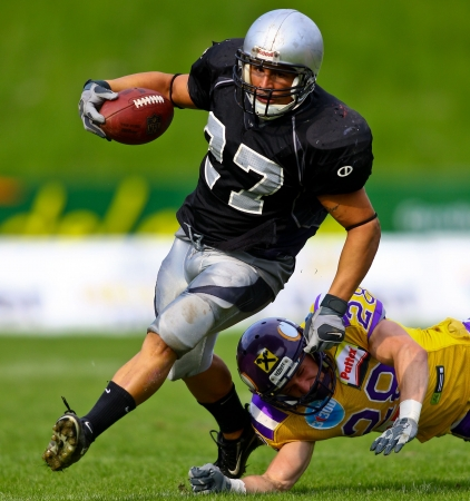 VIENNA, AUSTRIA - MAY 2 Vienna Vikings beat  Badalona Dracs in an EFL-season game 24-0 on May 2, 2010. Shown is RB Nordi Ben Mousa (#27, Dracs). Editorial