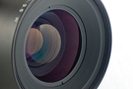 Close-up of the front lens of a medium format camera photo