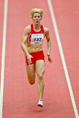 LINZ,  AUSTRIA - FEBRUARY 3 Linz indoor track and field meeting.  Tamara Seer (#137, Austria) takes part in the womens 60m sprint event on February 3, 2011 in Linz, Austria.