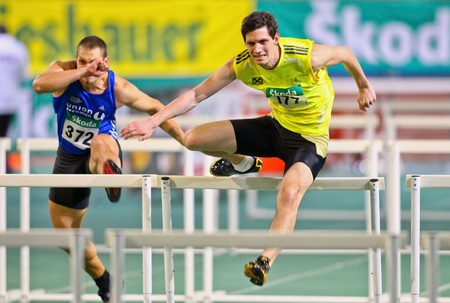 VIENNA, AUSTRIA - FEBRUARY 19: Indoor track and field championship. Philipp Huber (#177, Austria) places sixth in the mens 60m hurdles event on February 19, 2011 in Vienna, Austria. Editorial