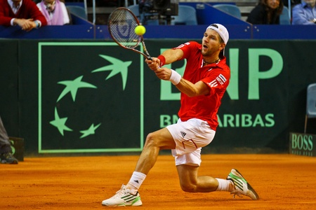 VIENNA, AUSTRIA - MARCH 4: Tennis Davis Cup Austria vs. France.  Juergen Melzer (Austria) loses his match against Jeremy Chadry (France) on March 4, 2011 in Vienna, Austria.
