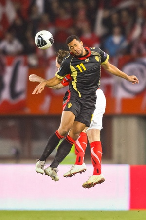 VIENNA,  AUSTRIA - MARCH 25 Austria loses to Belgium 0:2 in a qualifying match for EURO 2012 on March 25, 2011  in Vienna, Austria. Shown is Moussa Dembele (#11, Belgium).