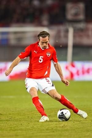 VIENNA,  AUSTRIA - MARCH 25 Austria loses to Belgium 0:2 in a qualifying match for EURO 2012 on March 25, 2011  in Vienna, Austria. Shown is Christian Fuchs (#5, Austria).