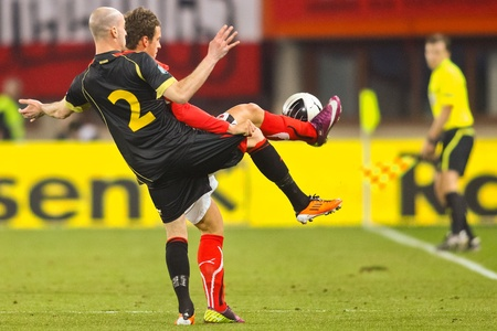 VIENNA,  AUSTRIA - MARCH 25 Austria loses to Belgium 0:2 in a qualifying match for EURO 2012 on March 25, 2011  in Vienna, Austria. Shown is Laurent Ciman (#2, Belgium).