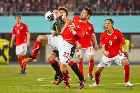 VIENNA,  AUSTRIA - MARCH 25 Austria loses to Belgium 0:2 in a qualifying match for EURO 2012 on March 25, 2011  in Vienna, Austria. Shown is Stefan Maierhofer (#22, Austria). Stock Photo - 9158259