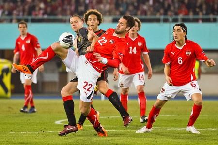 VIENNA,  AUSTRIA - MARCH 25 Austria loses to Belgium 0:2 in a qualifying match for EURO 2012 on March 25, 2011  in Vienna, Austria. Shown is Stefan Maierhofer (#22, Austria). Stock Photo - 9158263
