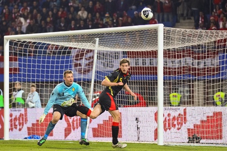 VIENNA,  AUSTRIA - MARCH 25 Austria loses to Belgium 0:2 in a qualifying match for EURO 2012 on March 25, 2011  in Vienna, Austria. Shown are Jan Vertonghen (#5, Belgium) and Simon Mignolet (#1, Belgium).