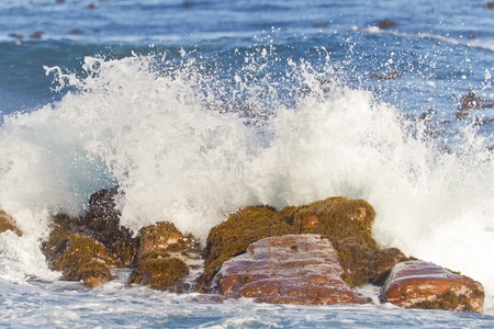 Waves breaking at the Cape of Good Hope in South Africa. photo