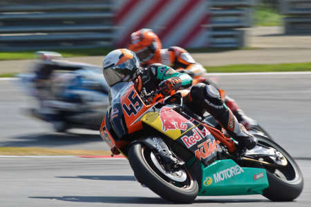ZELTWEG, AUSTRIA - AUGUST 20  Martin Bauer (#45, Austria) competes in the IDM Superbike cup on August 20, 2011 in Zeltweg, Austria.