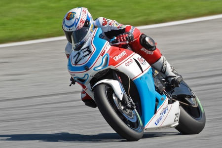 ZELTWEG, AUSTRIA - AUGUST 21  Andrey Martsevich (#23, Russia) competes in the IDM Superbike cup on August 21, 2011 in Zeltweg, Austria.