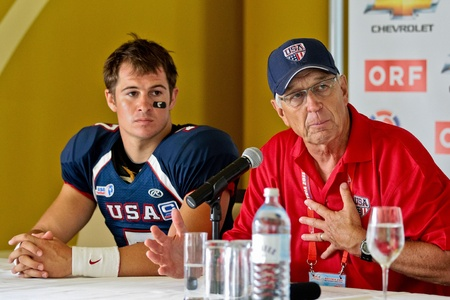 mel: INNSBRUCK, AUSTRIA - JULY 8 QB Cody Hawkins (#7 USA) and hed coach Mel Tjeerdsman at the press conference at the Football World Championship on July 8, 2011 in Innsbruck, Austria. USA wins 61:0 against Australia. Editorial