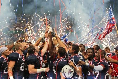 delito: VIENA, Austria - 16 de julio equipo de EE.UU. celebra la victoria en el Campeonato Mundial de F�tbol el 16 de julio de 2011 en Viena, Austria. EE.UU. gana 50:7 contra Canad� y gana el torneo.