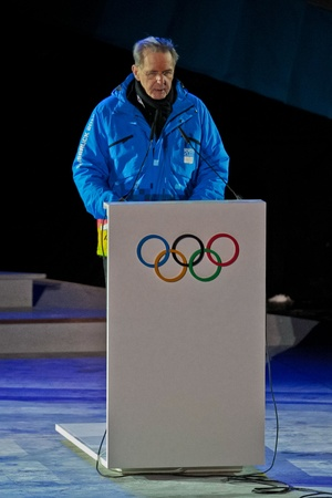 innbruck: INNSBRUCK, AUSTRIA - JANUARY 13 Jacques Rogge gives a speech during the opening ceremony at the Bergisel stadium on January 13, 2012 in Innsbruck, Austria. Editorial