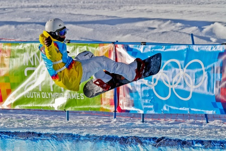 competes: KUEHTAI, AUSTRIA - JANUARY 14 Ludvig Billtoft (Sweden) competes in the mens halfpipe event on January 14, 2012 in Kuehtai, Austria. Editorial