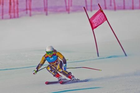 PATSCHERKOFEL, AUSTRIA - JANUARY 15 Greta Small (Australia) places 11th in the Super-G of the Ladies Super Combined on January 15, 2012 in Patscherkofel, Austria.