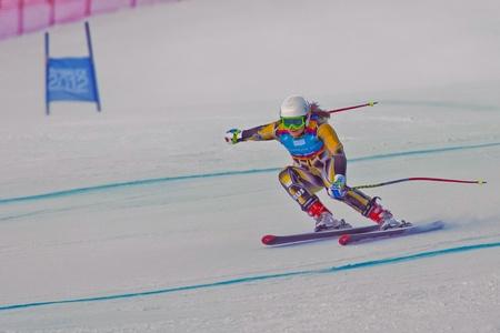 PATSCHERKOFEL, AUSTRIA - JANUARY 15 Greta Small (Australia) places 11th in the Super-G of the Ladies' Super Combined on January 15, 2012 in Patscherkofel, Austria. Stock Photo - 12159767