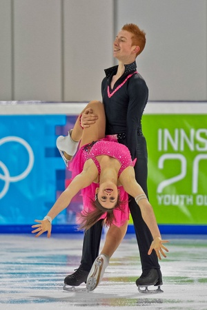 INNSBRUCK, AUSTRIA - JANUARY 15 Innsbruck, Jasmine Tessari and Stefano Colafato (Italy) place 7th in the short dance competition of the pairs ice dance on January 15, 2012 in Innsbruck, Austria. Stock Photo - 12160104