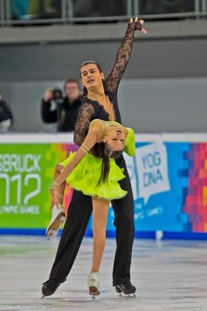 INNSBRUCK, AUSTRIA - JANUARY 15 Innsbruck, Karina Uzurova and Ilias Ali (Kazachstan) place 5th in the short dance competition of the pairs ice dance on January 15, 2012 in Innsbruck, Austria.