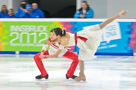 INNSBRUCK, AUSTRIA - JANUARY 17 Christine Smith and Simon Eisenbauer (Austria) place 9th in the pairs ice dance event on January 17, 2012 in Innsbruck, Austria.