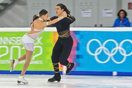 INNSBRUCK, AUSTRIA - JANUARY 17 Karina Uyurova and Ilias Ali (Kazachstan) place 6th in the pairs ice dance event on January 17, 2012 in Innsbruck, Austria. Stock Photo - 12160094