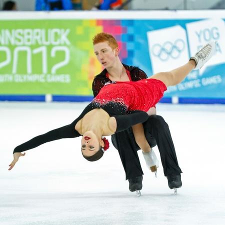 innbruck: INNSBRUCK, AUSTRIA - JANUARY 17 Jasmine Tessari and Stefano Colafato (Italy) place 8th in the pairs ice dance event on January 17, 2012 in Innsbruck, Austria.