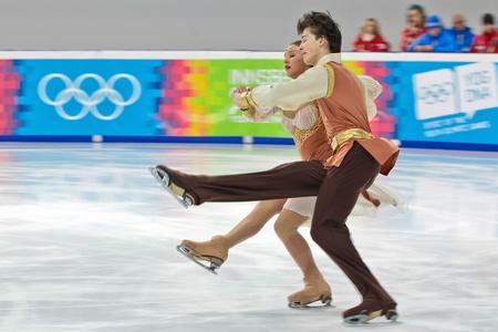 INNSBRUCK, AUSTRIA - JANUARY 17 Maria Simonova and Dmitri Dragun (Russia) place third in the pairs ice dance event on January 17, 2012 in Innsbruck, Austria.