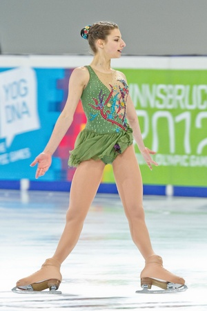 INNSBRUCK, AUSTRIA - JANUARY 17 Chantelle Kerry (Australia) places 10th in the ladies figure skating event on January 17, 2012 in Innsbruck, Austria.