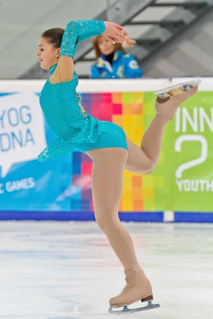 INNSBRUCK, AUSTRIA - JANUARY 17 Darin Khussein (Ukraine) places 9th in the ladies figure skating event on January 17, 2012 in Innsbruck, Austria.