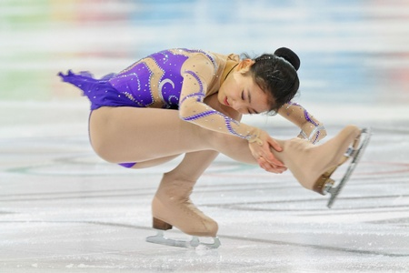 INNSBRUCK, AUSTRIA - JANUARY 17 Zijun Li (China) places third in the ladies figure skating event on January 17, 2012 in Innsbruck, Austria.