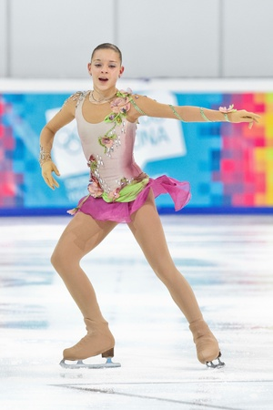 INNSBRUCK, AUSTRIA - JANUARY 17 Adelina Sotnikova (Russia) places second in the ladies figure skating event on January 17, 2012 in Innsbruck, Austria.